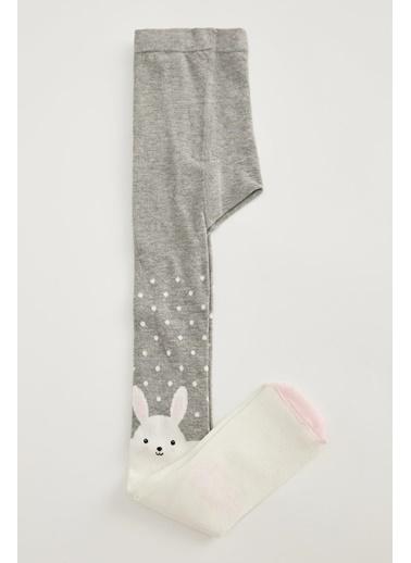 DeFacto Kız Çocuk Tavşan Desenli Külotlu Çorap Gri
